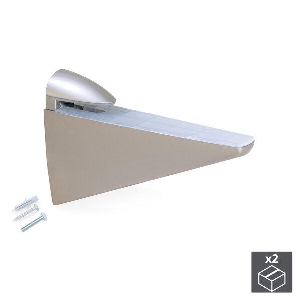 Emuca Bödenträger für Holz-/Glasregale, Dicke 8 - 40 mm, Kunststoff und Zamak, Matt vernickelt, 2 St.