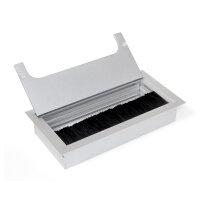 Emuca Kabeldurchlass für Tische, rechteckig, 159 x 80 mm, zum Einbetten, Aluminium, Matt eloxiert