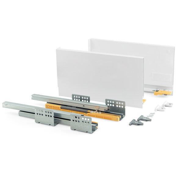 Emuca Schubladen-Kit für Küche Concept, H. 185 mm, T. 350 mm, sanftes Schließen, Stahl, Weiß