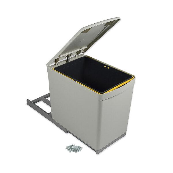 Emuca Recycle-Mülleimer, 16 L, unterseitige Befestigung, manueller Auszug, automatischer Deckel, Kunststoff, Grau