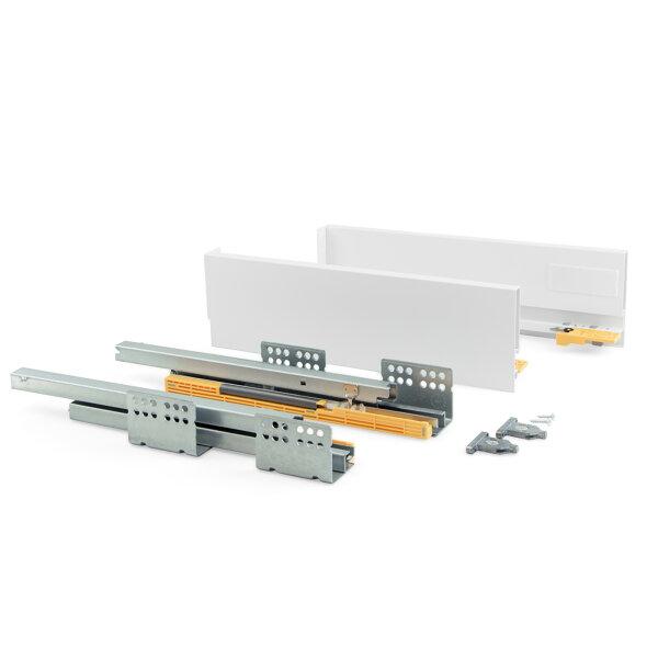 Emuca Schubladen-Kit für Küche Concept, H. 105 mm, T. 350 mm, sanftes Schließen, Stahl, Weiß