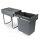 Emuca 20L Recyclingbehälter für Küche, Unterseitigbefeistigung, manuelle Extraktion, Stahl und Kunststoff, Anthrazitgrau
