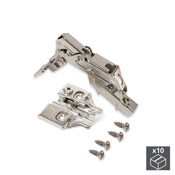 Emuca Topfscharnier, D. 35 mm, Mittelanschlag, sanftes Schließen, öffnung 165º, mit Montageplatte, 10 St.