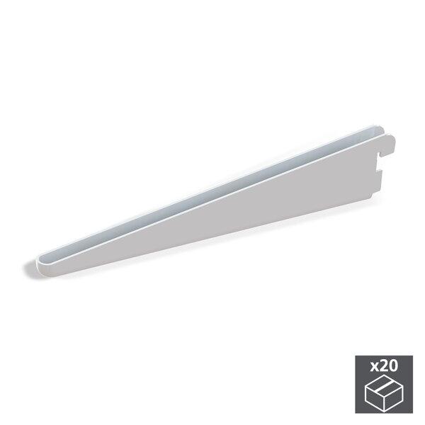 Emuca Regalträger für Holz-/Glasregal, für Profil mit Durchlass 32 mm, 320 mm, Stahl, Weiß, 20 St.