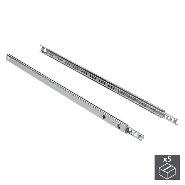 Emuca Satz Führungen für Schubladen, Kugelteilauszug, 17 x 278 mm, Verzinkt, 5 St.