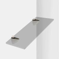 Emuca Bödenträger für Holz-/Glasregale, Dicke 0 - 25 mm, Kunststoff und Zamak, Matt vernickelt, 2 St.