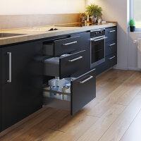 Emuca Schubladen-Kit Vertex für Küche und Bad, H. 93 mm, T. 400 mm, 40 Kg, sanftes Schließen, Stahl, Anthrazitgrau