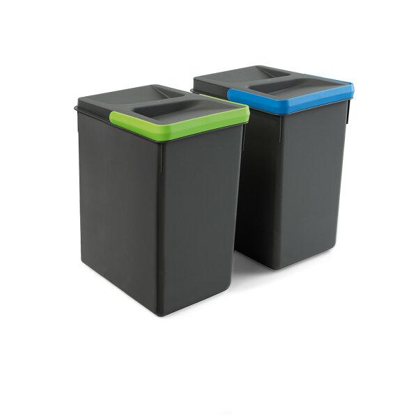 Emuca Behälter für Küchenschublade, H 266 mm, 2x7L, Anthrazitgrau
