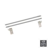 Emuca Satz Relinge für Schublade, D. 10 mm, T. 500 mm, Stahl, Grau metallic, 10 St.