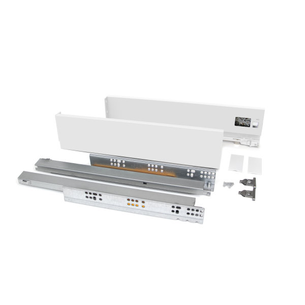 Emuca Schubladen-Kit Vertex für Küche und Bad, H. 83 mm, T. 500 mm, 40 Kg, sanftes Schließen, Stahl, Weiß