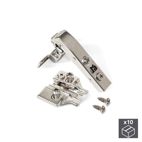 Emuca Topfscharnier, D, 35 mm, Winkelarm 90º, sanftes Schließen, mit Montagelplatte Euro, 10 St.