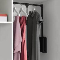 Emuca Kleiderlift für Schränke, regulierbar 830 - 1.150 mm, bis 12 kg, Stahl, Schwarz