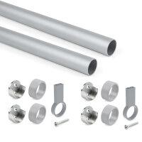 Emuca Set mit  Schrankstange D. 28, 1150 mm, Aluminium, Matt eloxiert