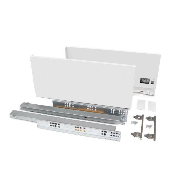 Emuca Schubladen-Kit Vertex für Küche und Bad, H. 178 mm, T. 450 mm, 40 Kg, sanftes Schließen, Stahl, Weiß