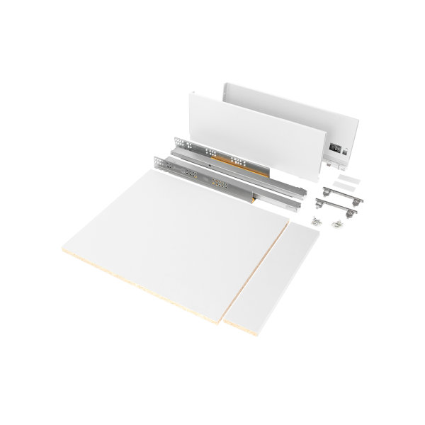 Emuca Schubladen-Kit Vertex für Küche und Bad, Bretter enthalten, sanftes Schließen, 500x178mm, 450mm Modul, Stahl, Weiß