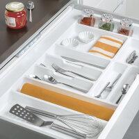 Emuca Besteckfach Optima für Küchenschublade Vertex/Concept 500, Modul 1.000 mm, Spanplatte 16mm, Kunststoff, Weiß