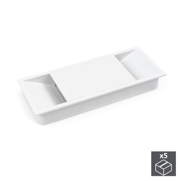 Emuca Kabeldurchlass für Tische, rechteckig, 152 x 61 mm, zum Einbetten, Kunststoff, Weiß, 5 St.
