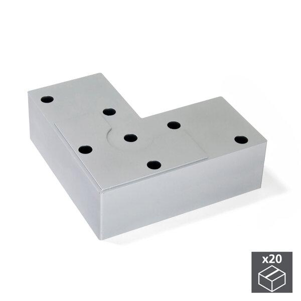 Emuca Möbelfuß, H. 24 mm, Kunststoff, Grau metallic, 20 St.