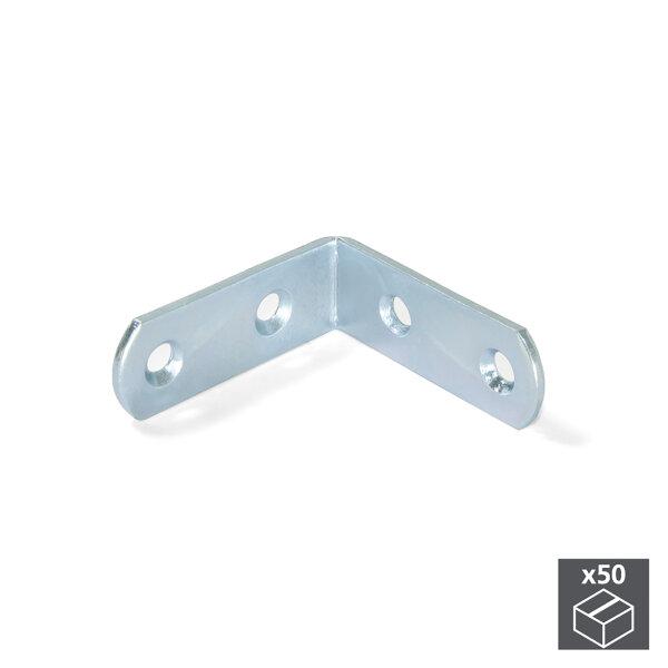 Emuca Montagewinkel für Möbel, 42 x 42 mm, 4 Löcher, Stahl, Verzinkt, 50 St.