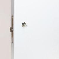 Emuca Türgriffe für Innentüren, mit Rosetten D.53 mm, L-Modell, Edelstahl, satiniertes Nickel.