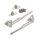 Emuca Klappenhalter-Set für Klapptüren, Kraft 20-70 kg x cm, Stahl und Zamak, Vernickelt