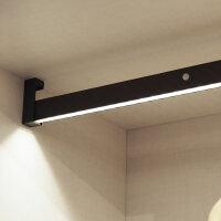 Emuca Schrankstange Castor mit LED-Licht, regulierbar 858-1.008 mm, Bewegungssensor, Aluminium, Farbe Mokka