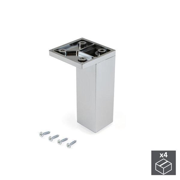 Emuca Möbelfuß, Ecke, regulierbar 100 - 110 mm, Kunststoff, Verchromt, 4 St.