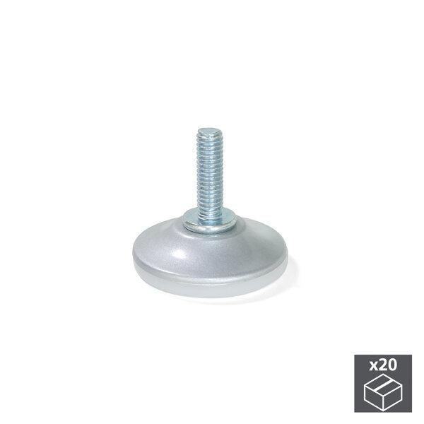 Emuca Nivellierfuß für Möbel, runder Fußteller, M6, D. 35 mm, H. 34 mm, Stahl und Kunststoff, 20 St.