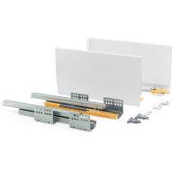 Emuca Schubladen-Kit für Küche Concept, H. 185 mm, T. 500 mm, sanftes Schließen, Stahl, Weiß