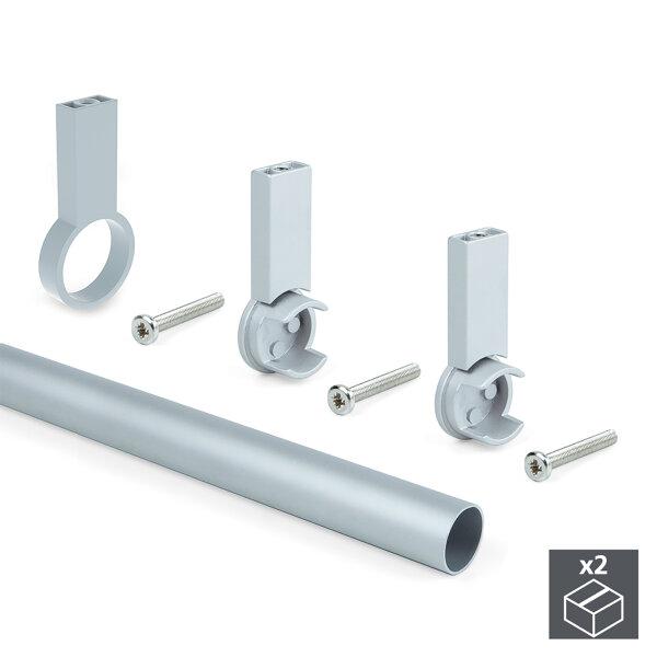 Emuca Schrankstange, rund, D. 28 mm, 1.400 mm, Aluminium, Grau metallic, 2 St.