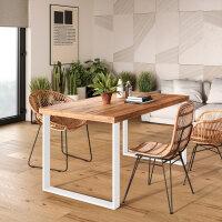 Emuca Satz mit zwei Square rechteckigen Tischbeinen, Breite 600 mm, weiß lackiert