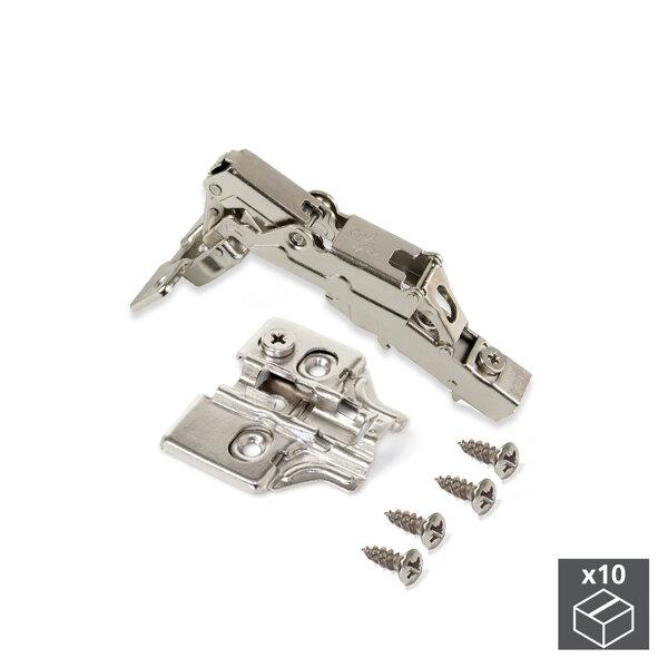 Emuca Topfscharnier, D. 35 mm, aufliegend, sanftes Schließen, öffnung 165º, mit Montageplatte, 10 St.
