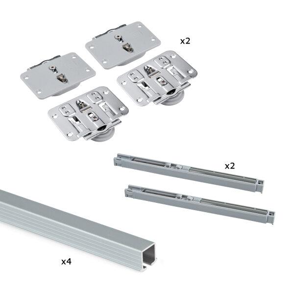 Emuca System Flow für zwei Holzschiebetüren, sanftes Schließen, Bretter nicht enthalten, Stahl und Aluminium, eloxiert